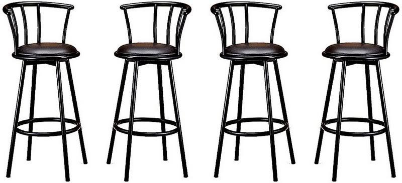 Набор из 4 поворотных чёрных металлических барных стульев