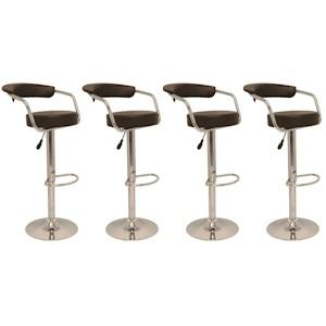 Набор из 4 новых коричневых поворотных барных стульев