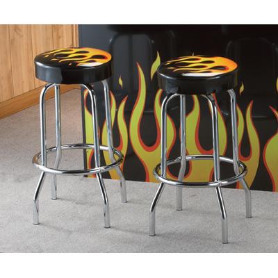 Комплект из двух барных ретро-стульев с пламенем