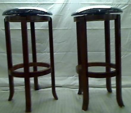 Барные стулья, набор из 2 Винсом дерево 30-дюймовый черный ПВХ сиденья орех