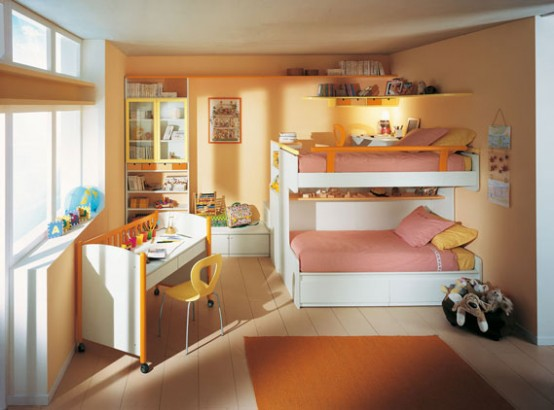 Дизайн детской комнаты с двухярусной кроватью - Дизайн комнаты для подростка, мебель фото фото