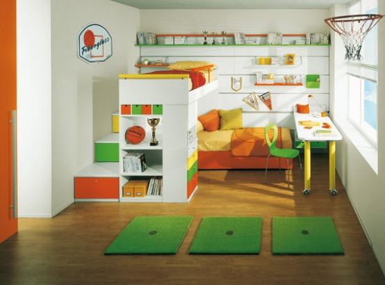 Дизайн детской с двумя кроватями на разных уровнях - Мебель для детской комнаты фото