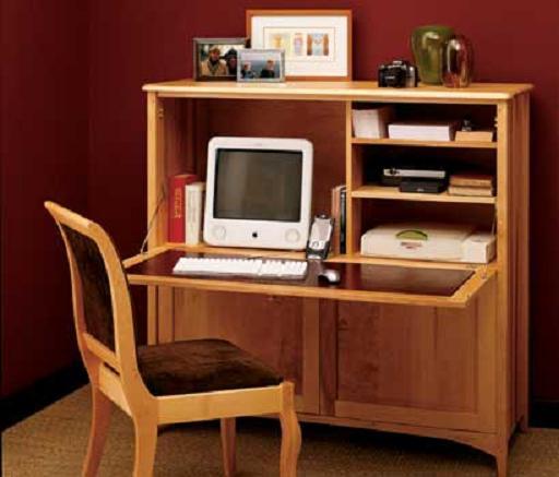 Простой небольшой рабочий кабинет из секретера - Мебель для кабинета фото