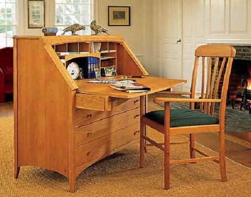 Деревянный кабинет с выдвижными ящиками внизу - Мебель для кабинета фото