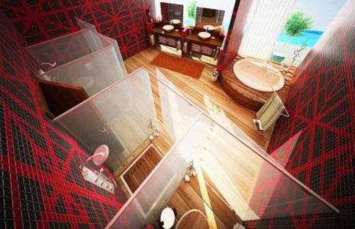 Мегасовременная ванная комната с несколькими душевыми кабинами - Ванная комната дизайн фото фото