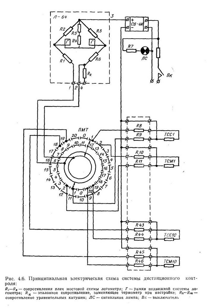принципиальная электрическая схема системы дистанционного контроля температуры и влажности среды для десяти лесосушильных камер - Разное фото