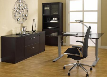 Лаконичный кабинет в тёмных тонах - Мебель для кабинета фото